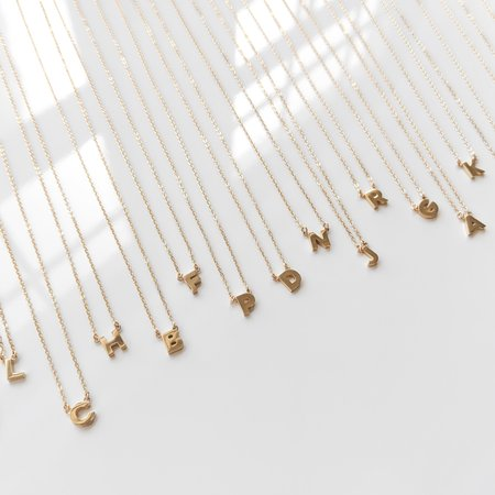 Thatch Initial Necklace - 14k