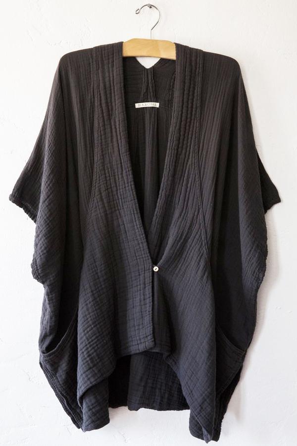 Black Crane Double Gauze Poncho - Charcoal