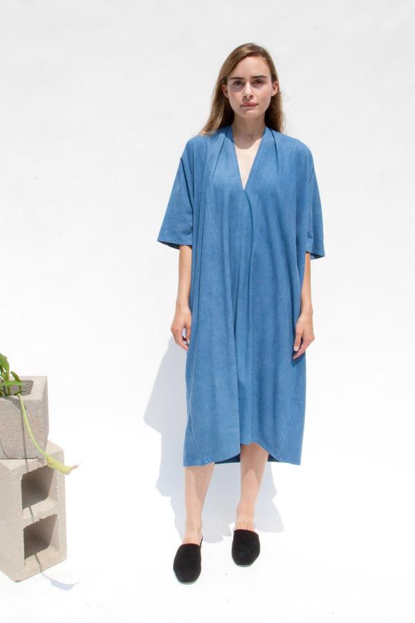 Miranda Bennett In-Stock: Muse Dress, Oversized, Silk Noil in Indigo