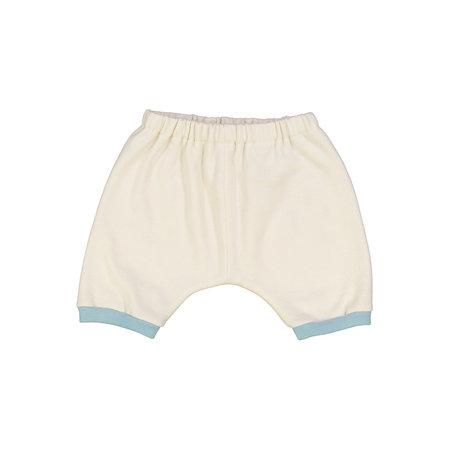Kids Petit Mioche Organic Embroidered Merino Wool Shorts - Raindrop