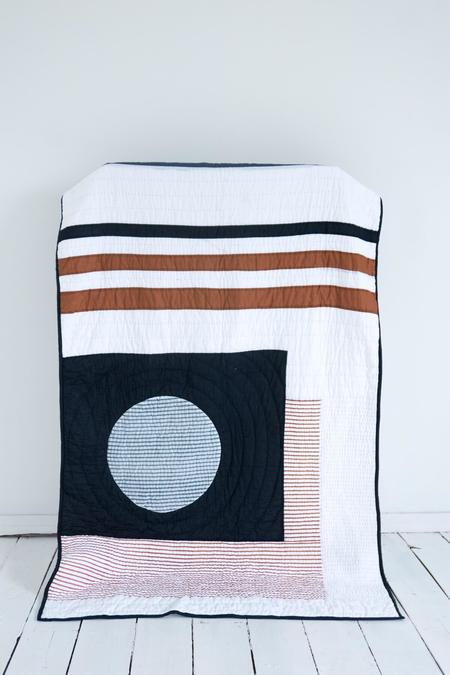 Karu Block Print Patchwork Quilt - Midnight/Rust