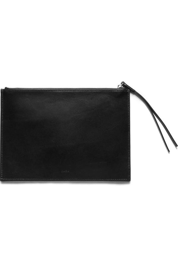 KARA Leather Gingham Flat Clutch