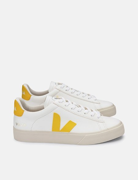 Veja Campo Chrome Free Leather Trainers - White/Tonic Yellow