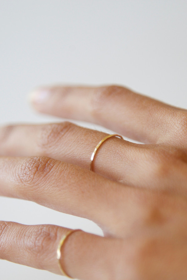Totem 14k Yellow Gold Hammered Ring