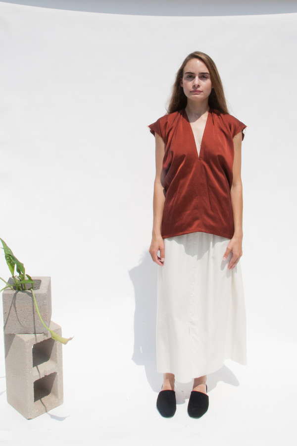 Miranda Bennett In-Stock: Everyday Top, Silk Charmeuse in Claret