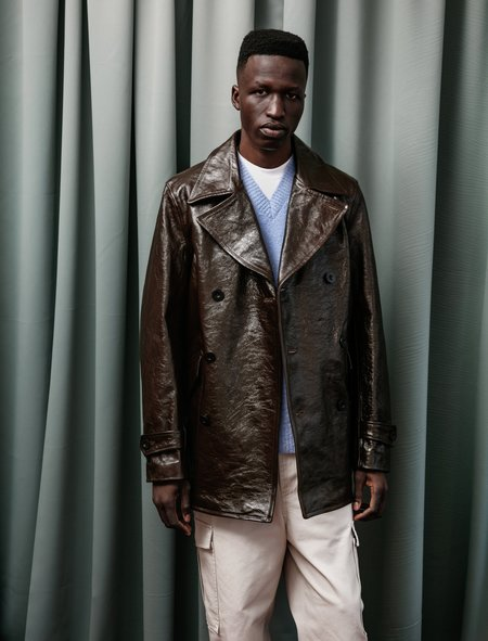 Our Legacy Double Breasted Buta Leather Coat - Olive