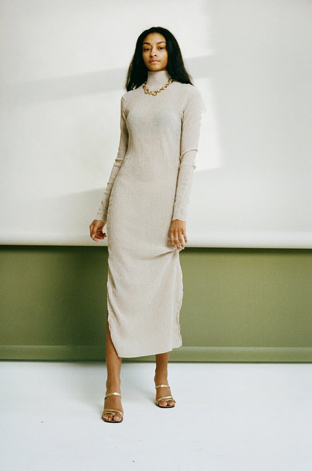 Nomia Maxi Raw Collar Dress - Wheat