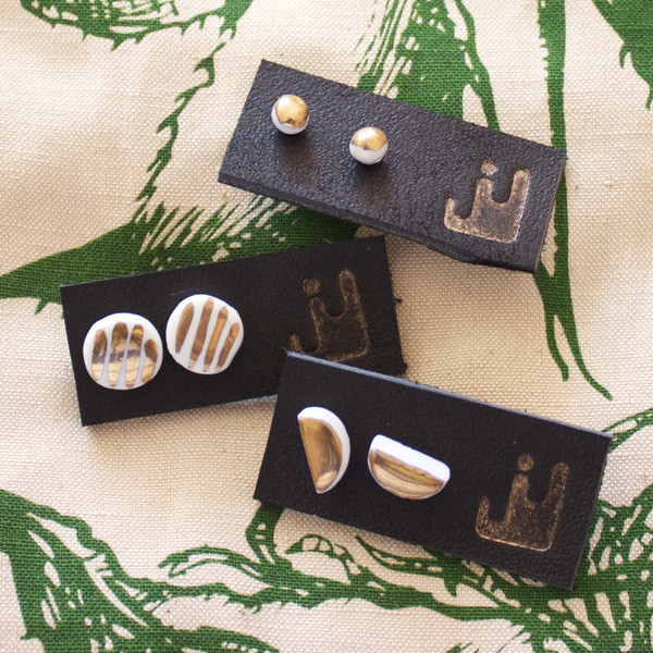 Jujumade Porcelain & 14k earrings