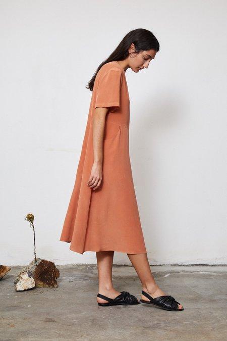 HAND DYED SILK FLARED DRESS - LOQUAT