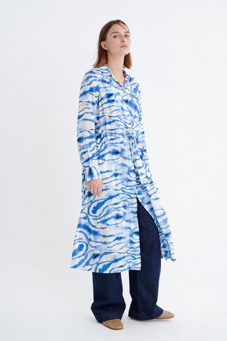 In Wear Lix Dress - Blue Shibori Stripe