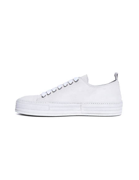 Ann Demeulemeester White Suede Low-Top Sneakers