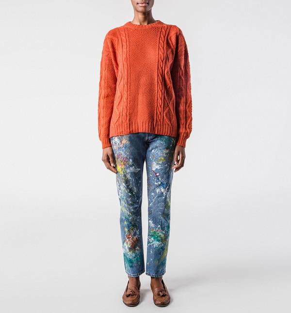 H. Fredriksson Cable Sweater Orange