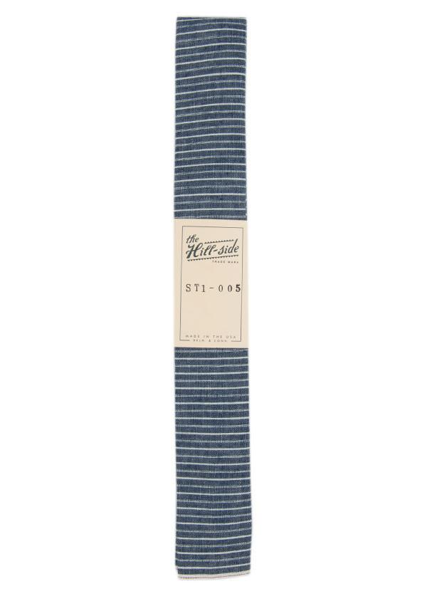 The Hill-Side - Selvedge Chambray Necktie, Indigo and White Stripe