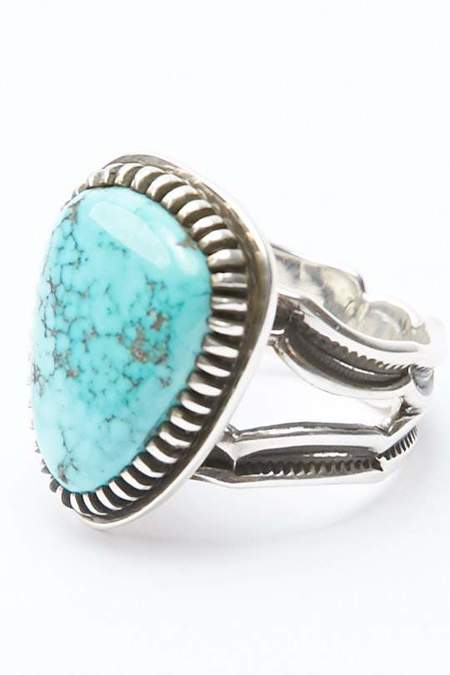 Lyle Secatero Turquoise Triangular Ring - Silver
