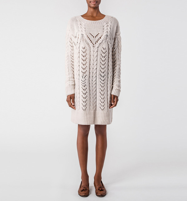 Ryan Roche Fisherman Sweater Champagne