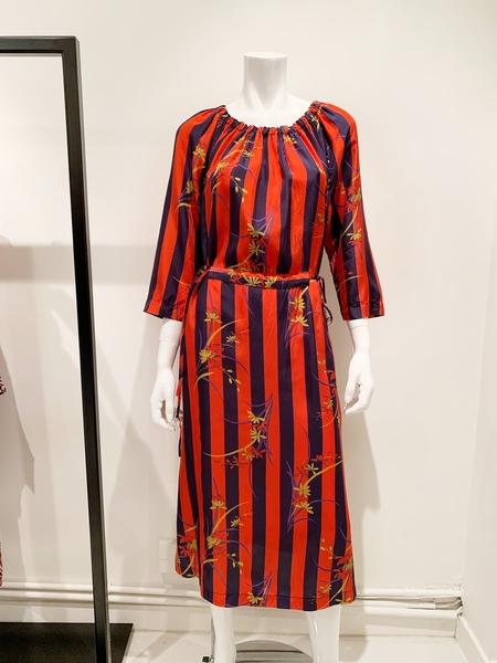 Raquel Allegra Adjustable Silk Floral Dress - Navy Stripe