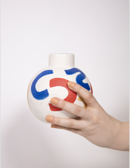 Sophie Alda Porcelain Round Bottle Vase - Brush Strokes