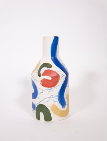 Sophie Alda Porcelain Tall Bottle Vase - Brush Stroke