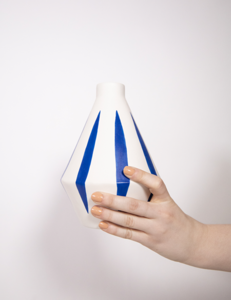 Sophie Alda Porcelain Diamond Hand painted vase - Blue Stripes
