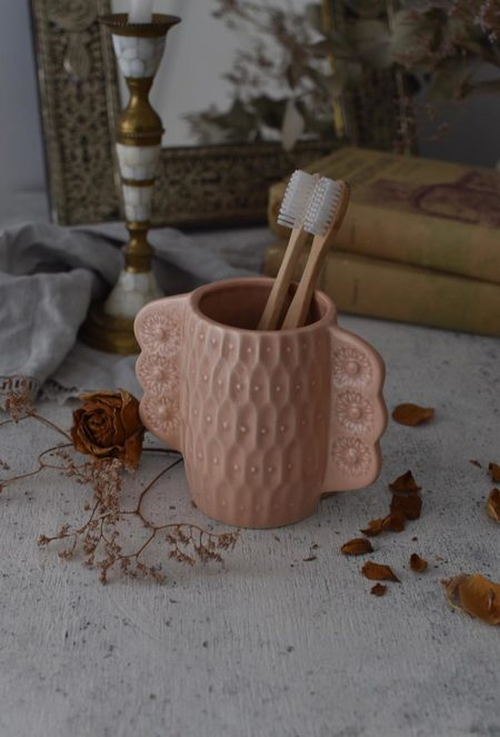 OWO Cerámica Victorian Pink Toothbrush Holder