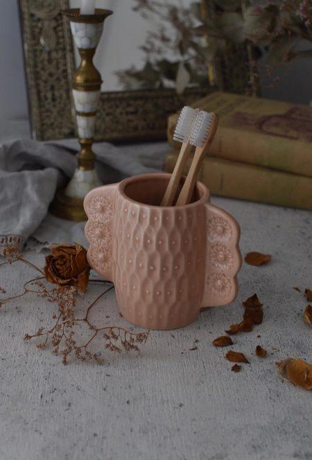 OWO Cerámica Victorian Pink Toothbrush Holder