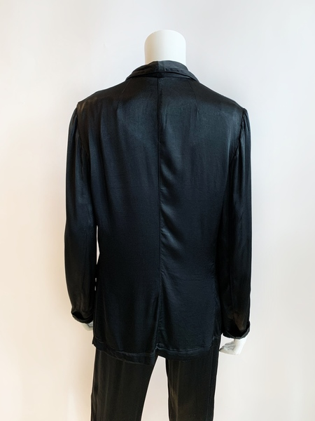 Raquel Allegra black satin two button blazer with pockets
