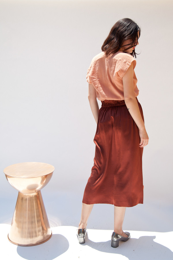 Miranda Bennett In-Stock: Paper Bag Skirt, Silk Charmeuse in Claret