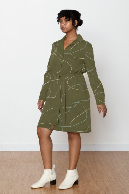 North Of West Stones Ruby Shirt Dress - Avocado