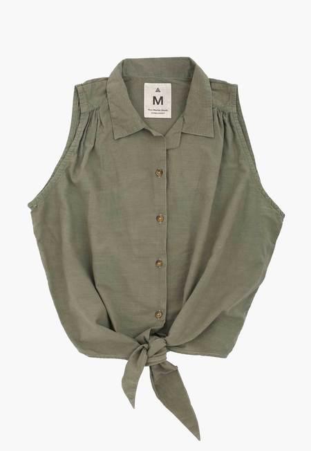 New Market Goods Buckthorn Tie Front Shirt - Green