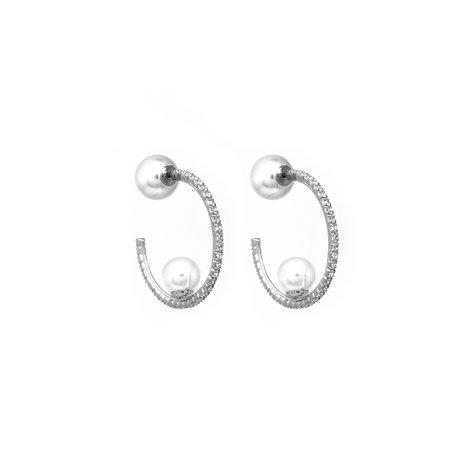 Joomi Lim Small Crystal Hoop Earrings W/ Affixed Pearls & Pearl Backs