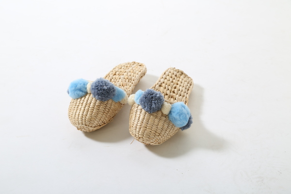 Folk Fortune handwoven slippers with Serenity blue pom poms