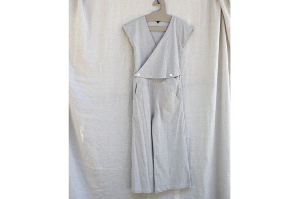 Atacama Jumpsuit in Cream Stripe Seersucker
