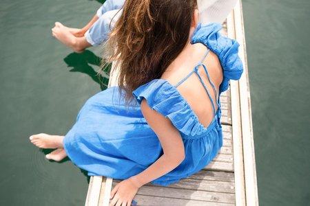 Kids piupiu chick Long Linen Dress with Frills