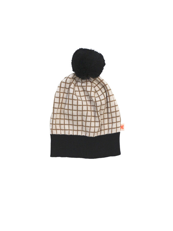 Tinycottons Grid Beanie Cream/Black