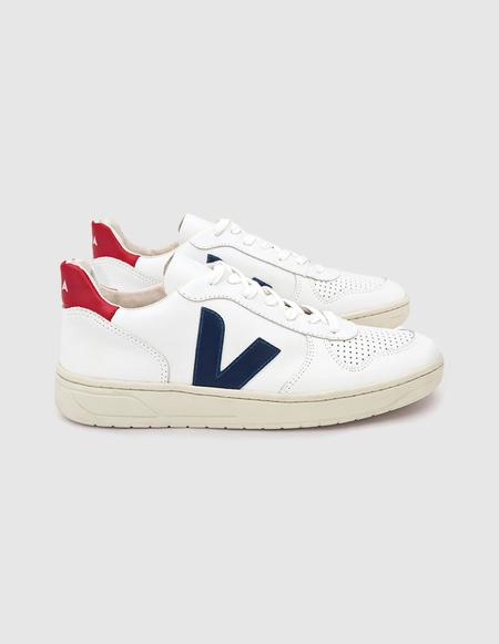 VEJA V-10 Leather sneaker - Extra White/Nautico Pekin