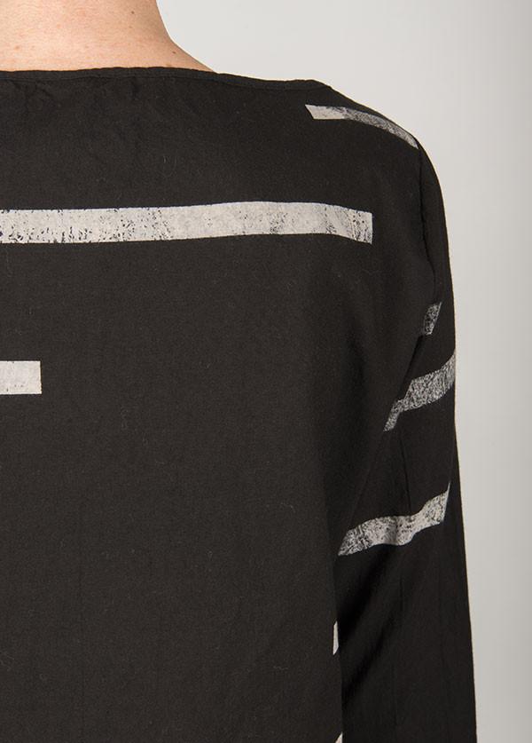 Uzi - Broken Stripe Long Sleeve Tee in Black
