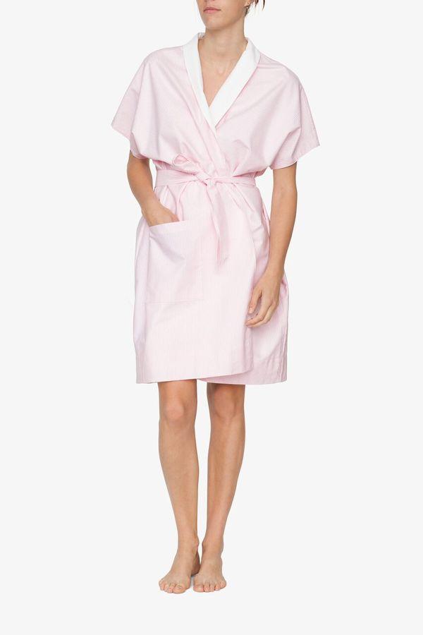 The Sleep Shirt Reversible Robe Pink Oxford Stripe