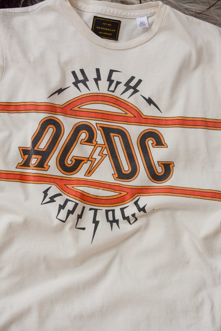 Unisex Retro Brand Black Label ACDC High Voltage Tee - White