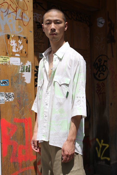 ST-HENRI Acid Short Sleeve Shirt - white/green