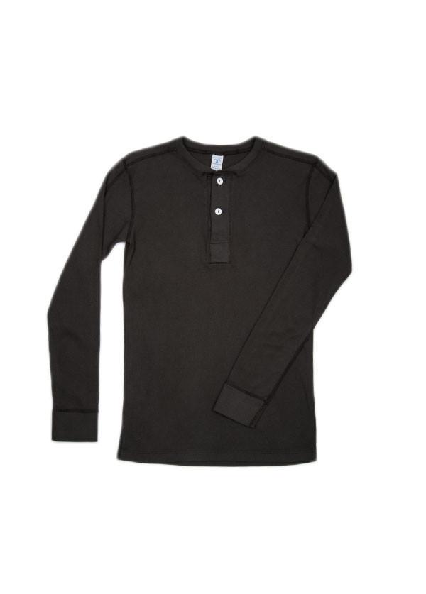 Velva Sheen - Men's Rib Knit Long Sleeved Henley in Charcoal