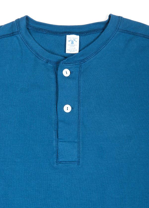 Velva Sheen - Men's Rib Knit Long Sleeved Henley in Royal Blue