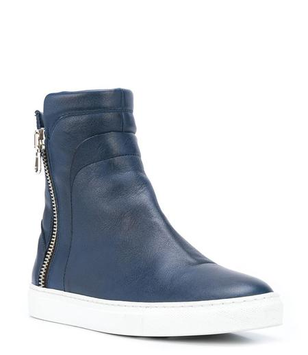 Madison Maison Leather Fur Hi Top Sneaker - Navy/Red