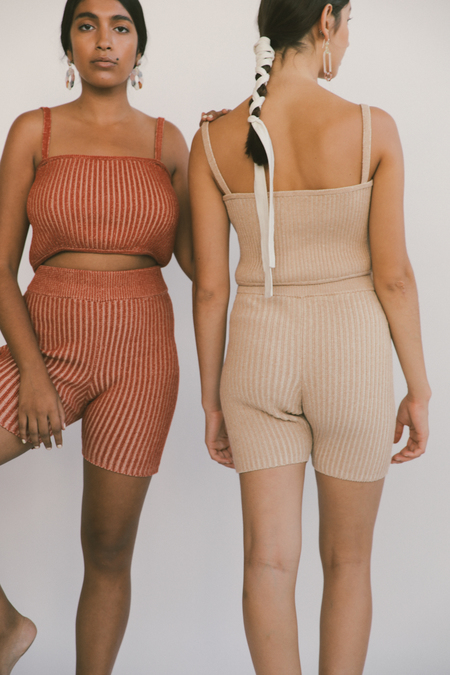 Kordal Plaited Bike Shorts in Nude/Cream