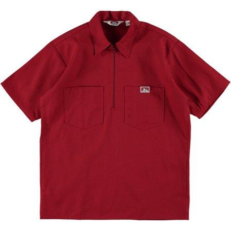 Ben Davis Short Sleeve Half Zip Work Shirt - Red
