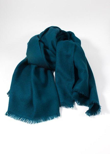 IRIS DELRUBY plain twill cashmere scarf - petrol