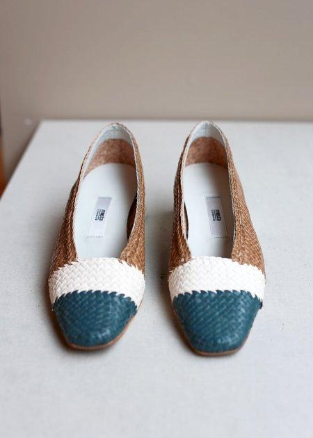 Miista Eivissa Mix Woven Leather Heels - Natural
