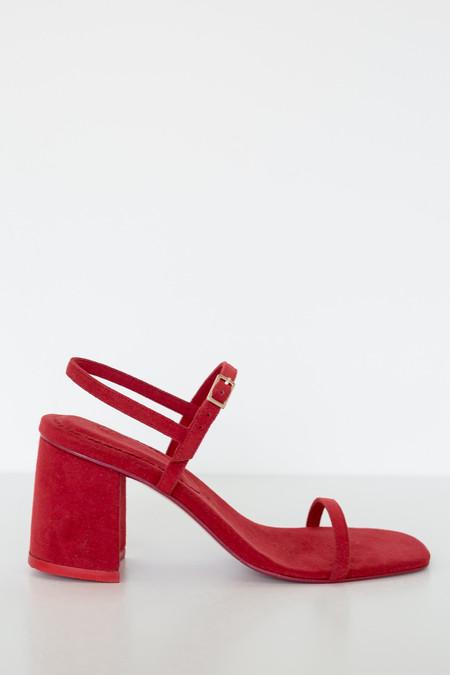 Rafa Vegan Suede Simple Sandal - Red