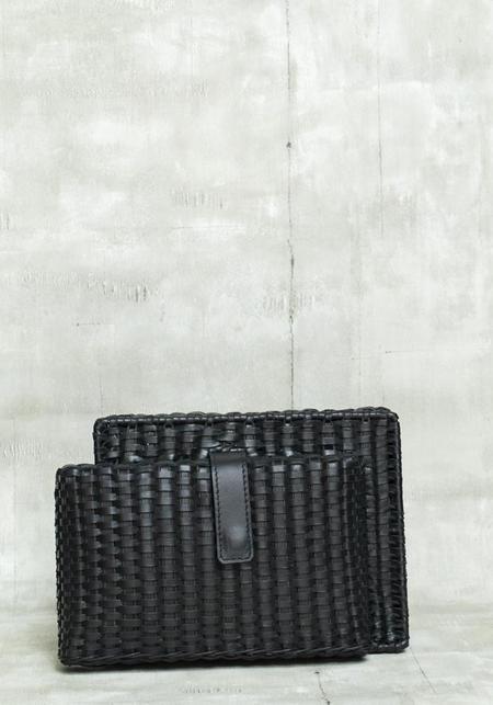 Zacarias Wicker and Leather Hard Edge Clutch - BLACK