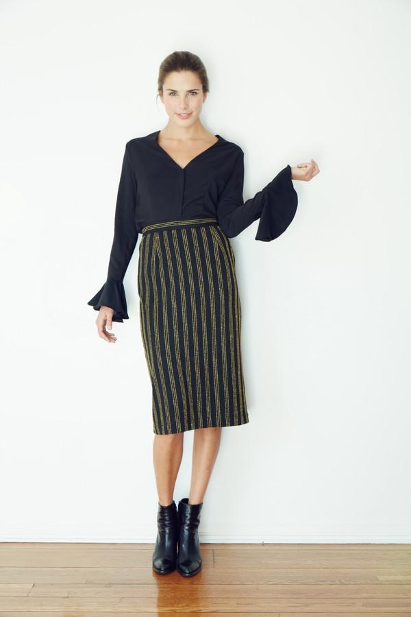 BETWEEN TEN Tuscan Bell Sleeve Top - Black