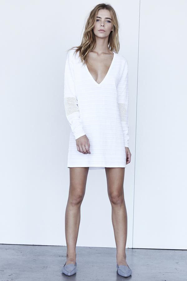 Perforated V Neck Mini Dress